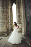 Portrait of Young Bride  near castle Royalty Free Stock Photo