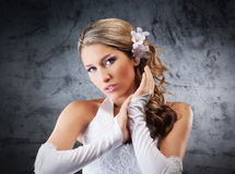 Portrait of a young bride in pearl jewelry Royalty Free Stock Photography