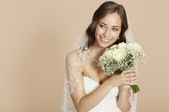 Portrait of a young bride Stock Photos