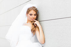 Portrait of  young bride in  white dress Royalty Free Stock Images