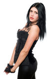 Portrait of a young brunette in black clothes Stock Photo