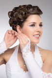 Portrait of a young brunette bride in makeup Royalty Free Stock Images
