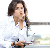 Portrait of a young brunette businesswoman Stock Images
