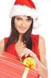 Portrait of a young brunette in Christmas clothes Stock Photo