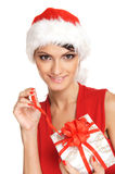 Portrait of a young brunette in Christmas clothes Royalty Free Stock Photography
