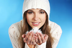 Portrait of a young brunette girl in a hoodie Stock Photography