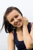 Portrait of young brunette girl outdoor Royalty Free Stock Photos