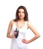 Portrait of a young brunette with a jumping rope Royalty Free Stock Photography