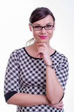 Portrait of a young brunette secretary / teacher or a business woman Royalty Free Stock Photos