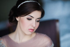 Portrait of a young brunette woman in a beautiful dress with make-up and hairstyle Royalty Free Stock Image