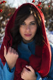 Portrait of young brunette woman dressed in red scarf and blue coat Stock Photo