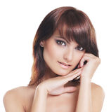 Portrait of a young brunette woman in makeup Royalty Free Stock Photography