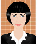 Portrait of a young brunette woman with short hair. Illustration Royalty Free Stock Images