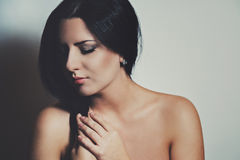 Portrait of young brunette woman Royalty Free Stock Images
