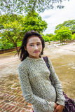 Portrait of young burmese woman with the typical face make up Royalty Free Stock Photos