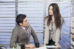 Portrait of a young business colleagues working together. In the office stock photography