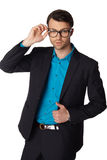 Portrait of young business man in glasses Stock Images