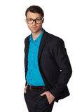 Portrait of young business man in glasses Royalty Free Stock Photo