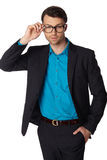 Portrait of young business man in glasses Royalty Free Stock Image