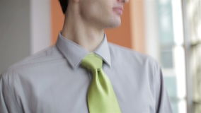 Portrait of young business man at modern office  interio stock footage