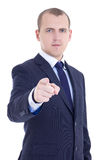 Portrait of young business man pointing at you isolated on white Royalty Free Stock Photography