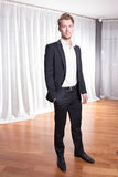 Portrait young business man in suit Royalty Free Stock Photos