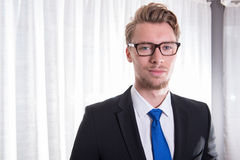 Portrait young business man in suit and tie Royalty Free Stock Images