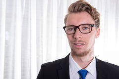 Portrait young business man in suit and tie Stock Photos