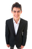 Portrait of young business man in suit on white background Royalty Free Stock Photo