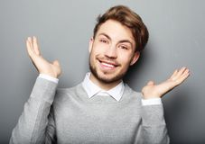 Portrait of a young business man surprised face expression. Lifestyle, business and people concept: portrait of a young business man surprised face expression Royalty Free Stock Images