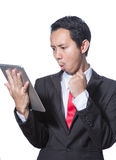 Portrait young business man using tablet thumb up hand point to tablet Stock Photos
