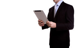 Portrait of young business man using a touch screen device Stock Photo