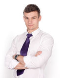 Portrait of a young business man on white Stock Image