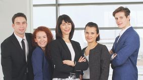 Portrait of young business team at work. Bright contemporary small creative business. stock video