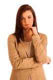 Portrait of young business woman in brown jacket isolated over w Stock Photography