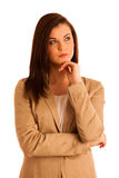 Portrait of young business woman in brown jacket isolated over w Stock Photos