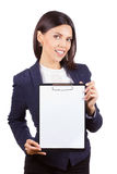Portrait of young business woman with clipboard Royalty Free Stock Photography