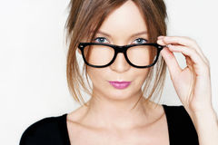 Portrait of young business woman with glasses Stock Image