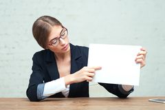 Business woman show white paper Stock Images