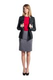 Portrait of young business woman gray skirt red Royalty Free Stock Photo