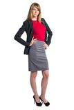 Portrait of young business woman gray skirt red Stock Photos
