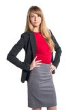 Portrait of young business woman gray skirt red Stock Images