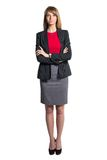 Portrait of young business woman gray skirt red Royalty Free Stock Photography
