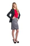 Portrait of young business woman gray skirt red Royalty Free Stock Photos