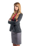 Portrait of young business woman gray skirt red Royalty Free Stock Images
