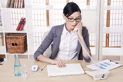 Portrait young business woman at her workplace Royalty Free Stock Photos
