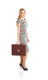 Portrait of young business woman holding briefcase Royalty Free Stock Image