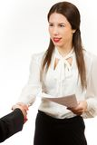 Portrait of a young business woman, holding contract Stock Photos