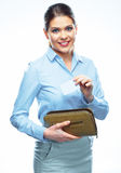 Portrait of young business woman holding credit card from purse Royalty Free Stock Photos