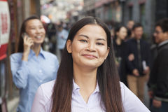 Portrait of young business woman in houhai, Beijing, China Royalty Free Stock Photo